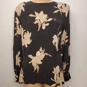 Vintage Liz Claiborne 100% Silk Floral Blouse